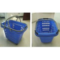 Quality Blue Large Capacity Shopping Basket With Wheels , Aluminum Handle Trolley Basket for sale