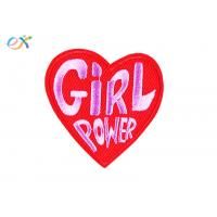 Quality Girl Power Heart Shape Embroidery Designs Patches / Iron On Clothing Patches for sale