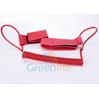 Quality 1.5M Long Quality Red Plastic Spring Coil Fishing Lanyard With Velcro Strap 2pcs for sale