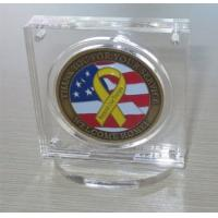 Quality Military Challenge Coin Poker Chip Display Case Holder with Stand, Clear Acrylic with Magn for sale