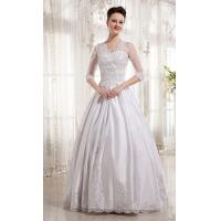 Quality Half Sleeve White Satin Romantic Lace Wedding Ball Gown , Deep V Neckline for sale