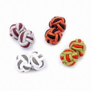 Silk knot cufflinks, 1.0cm diameter