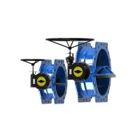 Quality Ductile Iron Blue Double Eccentric Butterfly Valve Modulating / On Off Type for sale