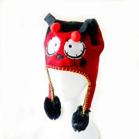 Quality Cheap knitting acrylic outdoor warm animal pattern red hat with hand