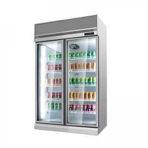Quality Refrigerator Promotional Double Door Fridge With Glass Door Commercial Beverage Freezer Display Fridge for sale