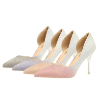 Quality ZM003 Autumn And Winter New Pointed Temperament European And American High Heels Gradient Stiletto Super High Heel Large for sale