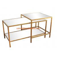 Quality Hot sell Telescopic Metal Famed Coffee Table With Tempered Glass Top MDF back Gold Color for sale