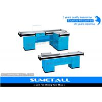 China Customized Retail Checkout Counter With Conveyor Belt , Cash Register Table Counter on sale