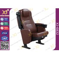 Steel Legs Floor Mounted Leather Theater Seating Chairs With Drink Holder