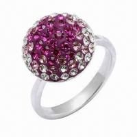 Quality 925 Sterling Silver Ring, Decorated with Crystal Stones, OEM and ODM Orders Welcomed for sale