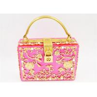 China Customize Jewel Pink Acrylic Clutch Bag Lucite Frame And Small Box Sized on sale