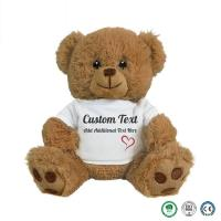 Quality 20cm wearing teddy bear plush toys and white T-shirt bear clothes can print logo manufactures customized small batch toy for sale