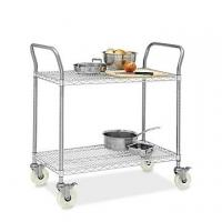 Quality Restaurant Wire Utility  Cart , 2 - Layer Wire Mesh Rolling Cart 30W X 14D X 38H for sale