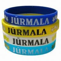Quality Promotional Silicone Wristbands, Available with Embossed, Debossed or Printing Logos for sale