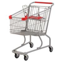 Quality Silver Grocery Shopping Trolley / Metal Supermarket Shopping Cart 100Kgs for sale