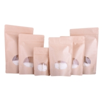 China Stand up Craft Paper food Zipper Plastic Bag With Transparent Window on sale