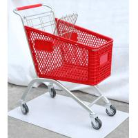 China HDPP Material Grocery Shopping Cart , Plastic Shopping Trolley On Wheels on sale