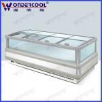 Quality 2.5m double side galss open island freezer supermarket refrigeration island chest freezer for sale
