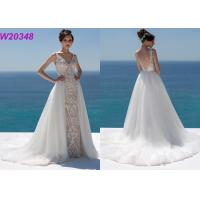Quality Lace And Sequinned V Neckline Mermaid Style Wedding Dress Detachable Over Skirt for sale