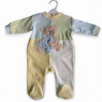 Quality Baby Romper with Cartoon Applique Embroidery, Made of 80% Cotton and 20% Polyester Velvet for sale