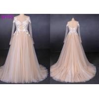 Quality Long See Through Lace A Line Tulle Female Wedding Dress With Pearls Beading for sale