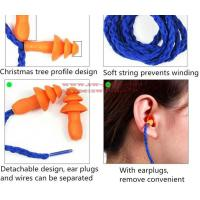 Quality Soft Silicone Corded Ear Plugs ears Protector Reusable Hearing Protection Noise Reduction Earplugs Earmuff for sale