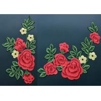 Quality Colorful Polyester Neckline Embroidered Applique Patches / Large Embroidered Flower Patches for sale