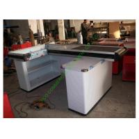 Quality White Supermarket & Retail Store Cash Wrap Counter Table With Conveyor Belt for sale