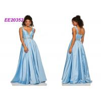 Quality Sleeveless Luxuey Floor Length Prom Ball Gowns Sweet Party Dress In Blue for sale