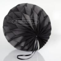 Quality Dark Grey Tissue Paper Honeycomb Balls Pom Poms With Satin Ribbon Loop For Hanging for sale