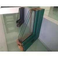 Quality Extruded Aluminium Window Profiles / Green Color Three Layers Glass Combined Windows for sale