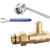 Quality 1415 Magnetic & Leadseal Lockable Brass Ball Water Meter Valve Stemhead ARROW Patterned w/ Coupling Quick In-Out Design for sale