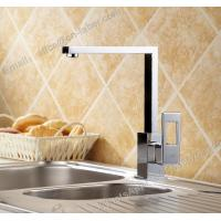 Quality hot and cold sink mounted square kitchen brass faucet deck mounted chrome plating brass kitchen faucet for sale