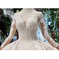 Buy Tulle Wedding Bridal Ball Gowns Long Sleeves V Neckline Lace Applications at wholesale prices