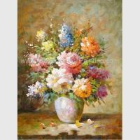 China Abstract Floral Still Life Oil Paintings Colorful Flowers Vase Canvas Painting on sale