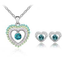 Quality Heart Crystal wedding jewelry sets 4 colors bridal necklace earring set TJ0130 for sale