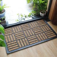 Quality Natural Coir Entrance Matting / Coir Personalized Door Mats Grid Style for sale