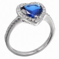 Quality Sapphire Silver Ring, Available in Various Styles, OEM and ODM Orders Accepted for sale