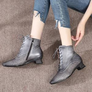 Quality HZM027 Real Cowhide Women'S Martin Boots Autumn And Winter New Fashion Short Boots Casual Wild Woven Leather Boots Smoke for sale