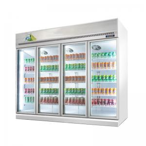 Quality Commercial 4 Glass Doors Beverage Display Fridge With Digital Temperature Controller for sale