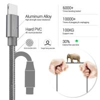 Quality Fast Charger Lighting Cell Phone Data Cable 0.2M 1.0M 1.8M 2.1A 3.3ft Length for sale