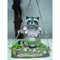 Quality Decorative whimsical Epoxy Resin Garden  Crafts Racoon Playing on Swing for sale