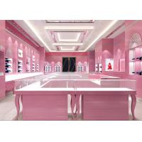 Quality Glossy Pink Color Showroom Display Cases 8MM And 6MM Tempered Glass Materials for sale