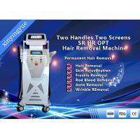 Quality Two Handles Two Screen 2000W Permanent Painless Hair Removal And Skin Rejuvenation SHR IPL Machine for sale