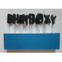 Quality Customized Black Birthday Candle Letters / Glitter Wood Stick Candle No Drip for sale