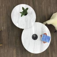 Buy cheap White Simple Marble round dining tabletops with Metal Base for Living Room from wholesalers
