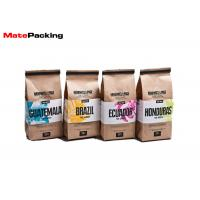 Quality Food Grade Heat Seal Stand Up Coffee Pouches , Packaging Tin Tie Brown Paper Coffee Bags for sale