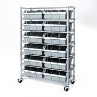 Quality 7 Tier Commercial Chrome Steel Wire Shelving Kitchen Storage Grey Bin Rack for sale