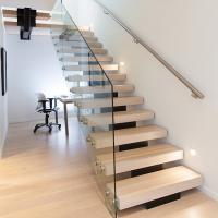 Buy Modern Style Indoor Single Stringer Straight Steel Solid Wood Staircase  At Wholesale Prices ...