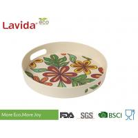 China Dishwasher Safe Bamboo Fiber Big Round Serving Tray With Christmas Pattern on sale